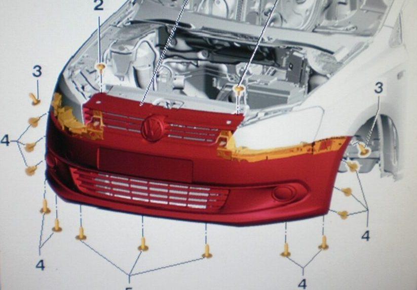 Снятие и установка переднего бампера Фольксваген Поло